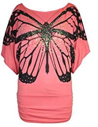 Womens Butterfly Print Batwing Sleeves Side Ruched Top Ladies Off Shoulder Bardot Sequin Casual Party T Shirt Plus Sizes