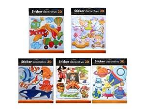 Lot de 5 plaques de Stickers 3D Chambre enfant Pirate Poisson Animaux Espace