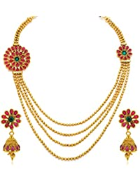 Sukkhi Intricately Gold Plated Four String Necklace Set For Women