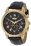 Invicta 90242–003Invicta I 18K Chapado en Oro Acero Inoxidable Reloj con Banda de Cuero Negro