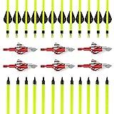 VERY100 Carbonpfeile für Bogenschießen mit Jagdspitzen pfeilspitze für Recurvebogen und Compoundbogen bogensport (Blitz)