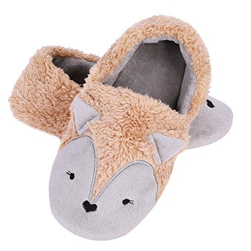 Cute Silver Fox Fleece Slippers for Women Girls Winter Soft Wool Furry Lining Plush Indoor/Outdoor Slippers Slip-On Shoes Fuzzy Clog Mule House Slipper Warm Stylish Comfortable