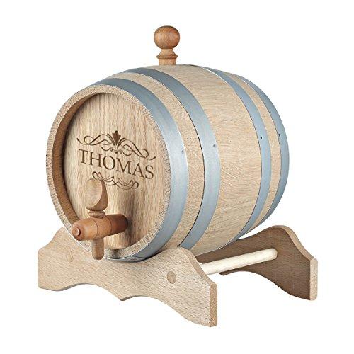 polar-effekt 3 Liter Holzfass Personalisiert mit Gravur - Geschenkidee zum Geburtstag für Männer - Eichen-Fass für Whisky oder Wein - Motiv Scroll Design