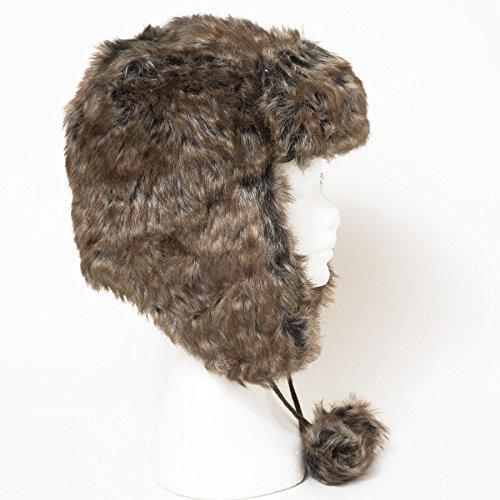Bonnet de trappeur en fausse fourrure style Russe Marron