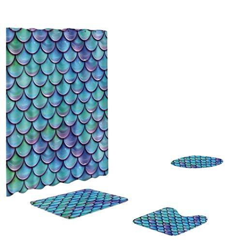 MDenker Fischschuppen Duschvorhangmatte 4er-Set Badgarnitur, Badezimmer Teppich Set WC-Vorleger Badezimmer Duschvorhang