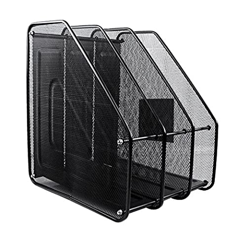 BXT Black Mesh Magzine Rack Desk Storage Stacking Supports A4 File Holder Document Organizer Scratch-resistant Letter Tray Lever Arch File Folders Storage Container