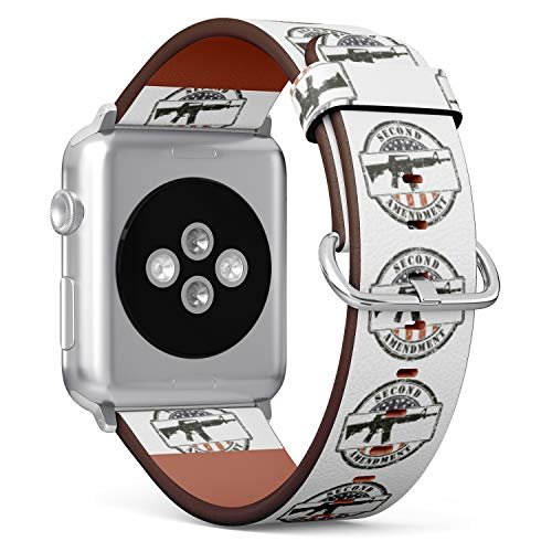 R-Rong kompatibel Watch Armband, Echtes Leder Uhrenarmband f¨¹r Apple Watch Series 4/3/2/1 Sport Edition 42/44mm - Grunge Stamp Second Amendment and Assault Rifle ar-15 -