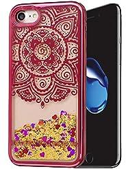 """Iphone 7 Coque Silicone, Coque Iphone 7 silicone, Iphone 7 Protection, Nnopbeclik® (4.7 Pouce) Colorful Paillettes Briller Style Backcover Doux Soft Dégradé de Couleur Housse Antichoc Protection Antiglisse Anti-Scratch Etui """"NOT FOR IPHONE 7 PLUS 5.5"""" - [Fleur2]"""