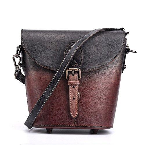 Asdflina Grosse Kapazität Retro-Stil Damen wischen die erste Schicht aus Leder Eimer Tasche Diagonal Kleine Handtasche Geeignet für den täglichen Gebrauch (Farbe : Lila)