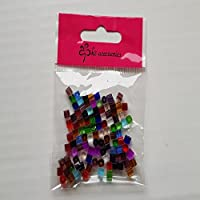k2-accessories A3019 Lot de 100 perles de verre en forme de cube Plusieurs couleurs 4 mm