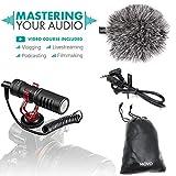 Movo VXR10 microfono video universale con supporto antivibrazioni, antivento deadcat e custodia, per smartphone iPhone/Android, videocamere e fotocamere DSLR Canon EOS/Nikon