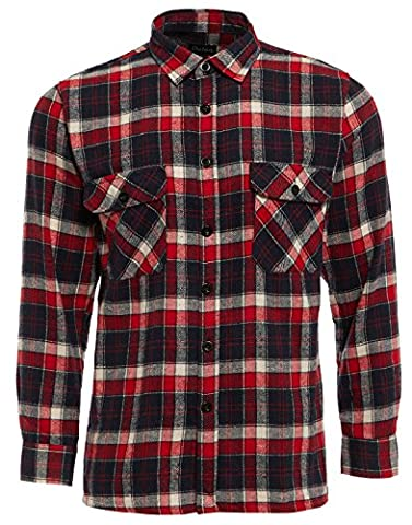 Mens Work Shirts Brushed Cotton Lumberjack Flannel Long Sleeve Check