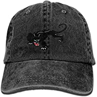 Unisex Adult Black Panther Leopard Washed Denim Cotton Sport Outdoor  Baseball Cap Trucker Cap Adjustable One 61181e0753a