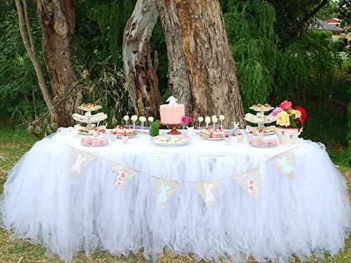 Czos88 tutu tulle tavolo gonna, 90 x 80 cm rete tovaglia tavola per festa baby shower decorazione compleanno (bianco) - bianco, free size