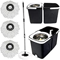 Gr8 Home Black Space Saving 360° Dual Duo Floor Spin Mop Dispenser Bucket Set Spinning Rotating with 3 Cleaning Dry Heads