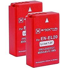 2x Baxxtar PRO batería para Nikon EN-EL20 EN-EL20a genuina 850mAh - Sistema inteligente de la batería - 100% compatible para - Nikon DL24-500 1 AW1 J1 J2 J3 S1 V3 COOLPIX A - Blackmagic Pocket Cinema