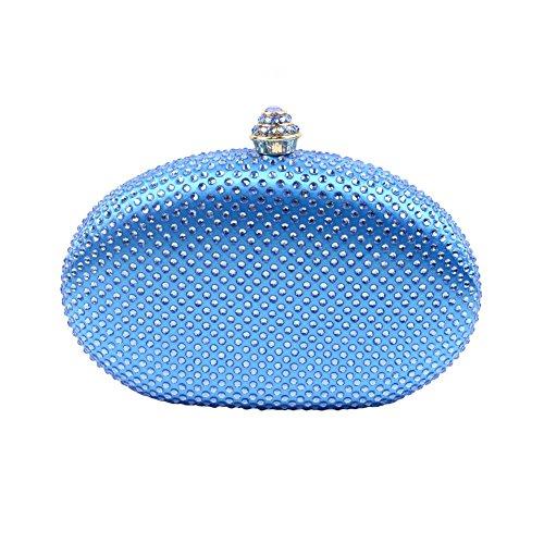 Yingzu Uovo A forma di Partito Frizione Borsa per Donne Strass Diamante Frizione Sera Borsa (Arancio) Blu