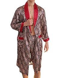 GOMY Men s Summer Pyjamas Luxurious Kimono Soft Satin Robe with Matching  Shorts Nightgown Long-Sleeve 3f55a7355