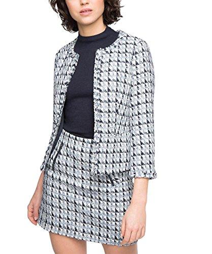 ESPRIT Collection Damen Blazer Tweed, Gr. 44, Mehrfarbig (Light Blue 440) - Light Blue Tweed