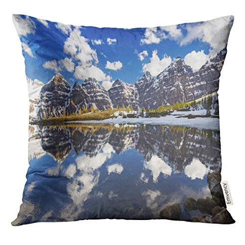 Dekokissenbezug Snowy Mountain Tops Reflected in Still Water of Lower Minnestimma Lake Larch Valley Above Moraine Banff Decorative Pillow Case Home Decor Square 18x18 Inches Pillowcase - Pillow-top-blatt