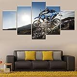 HOMOPK 5 Leinwandbild Bilder Motorrad-Cross Country-Rennen 5 Teilig Wandbild hintergrundwand malerei tapete öl Druck Poster küche dekor Plakat Geschenk B,Rahmen.