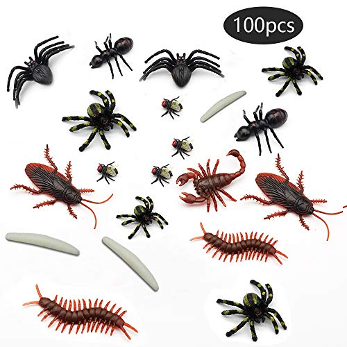 YGSAT 100 Stück Halloween Realistic Insect Toys Fake Cockroach Novelty Roaches Bugs Realistic Insects Verschiedene Stimulation Fake Worm Insect für Halloween Tease Streich Requisiten