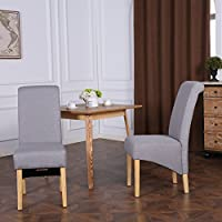 The Home Garden Store Set of 2 Cambridge Fabric Dining Chairs Scroll High Back Light Grey