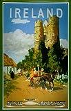 Blechschild Irish Airlines Burg mit Pferdekarre Retro Schild Nostalgieschild