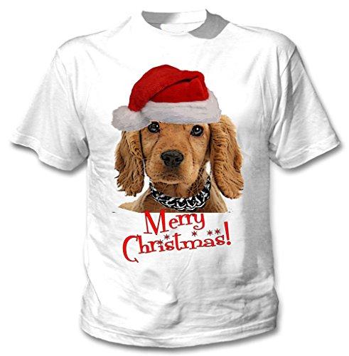 Teesquare1st Men's MERRY CHRISTMAS GOLDEN COCKER SPANIEL WM White Tshirt XXLarge Size