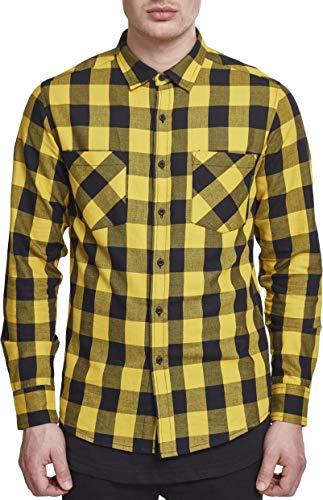 Urban Classics Herren Freizeithemd Checked Flanell Shirt, Blk/Honey, 3XL