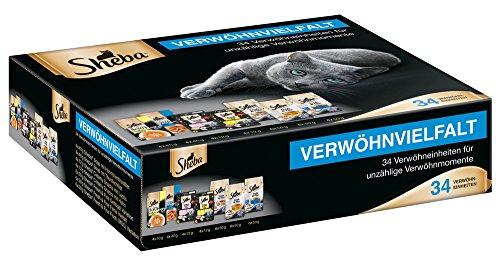 Sheba Verwöhnvielfalt-Paket Soup, Fresh & Fine und cremigen Snacks, 34 Einheiten (8 x 40 g Soup, 18 x 60 g Fresh & Fine, 8 x 12 g Creamy Snacks)