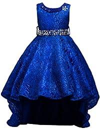 LSERVER-Abito in Pizzo con Coda Ragazza con Diamanti Bambine Vestito  Principessa Abiti da Sera Matrimonio… a8fe9463046