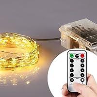 Esterna del LED luci leggiadramente della stringa batteria, Moeliker 5M 50 luci LED per Starry giardino, Matrimonio, Party, casa con telecomando senza fili / Funzione Timer (Bianco Caldo)