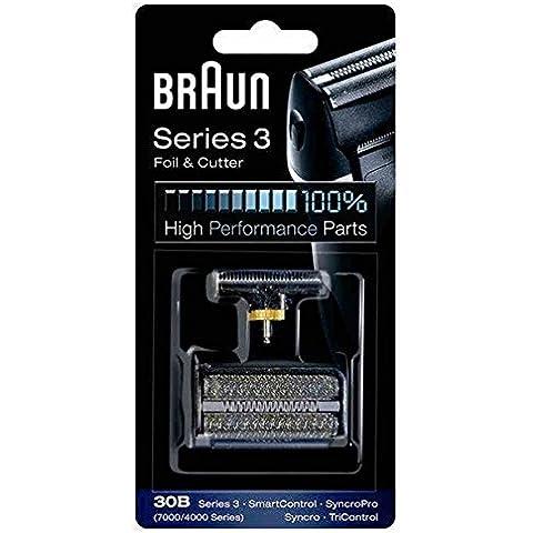 Braun 30B - Recambio para afeitadora eléctrica, compatible con afeitadoras Series 3, color negro