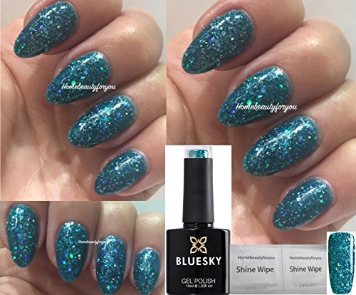 BLUESKY blz10 türkis blau grün multi Glitter Nagellack-Gel UV-LED-Soak Off 10 ml plus...