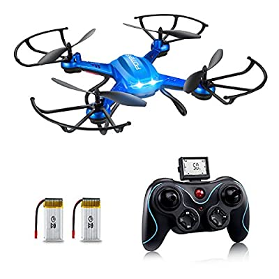 Drone with HD Camera, Potensic® F181H 2.4G 4CH 6Axis RC Quadcopter Drone RTF Altitude Hold with Newest Hover and 3D Flips Function, 2.0 Megapixelsi HD Camera - Blue