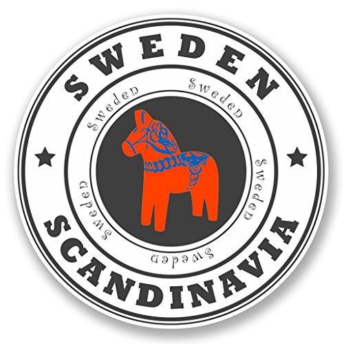 Preisvergleich Produktbild 2 x Schweden Skandinavien Vinyl Aufkleber Aufkleber Laptop Reise Gepäck Auto Ipad Schild Fun 4524 - 10cm / 100mm Wide