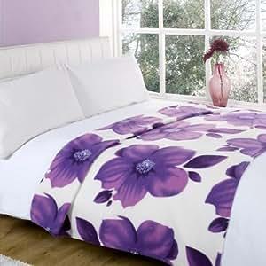 Jeté de lit en polaire Poppy - imprimé fleurs - sarcelle - 120 x 150 cm