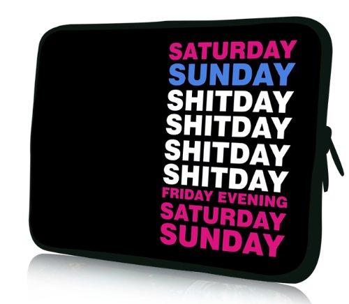 Luxburg® Design Laptoptasche Notebooktasche Sleeve für 14,2 Zoll, Motiv: Shitday Kalender - Sony Laptop Vaio Weiß