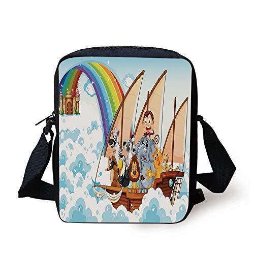 Children,Many Animals on a Boat Ark in Fluffy Clouds with Rainbow Fantasy Cartoon,Multicolor Print Kids Crossbody Messenger Bag Purse -