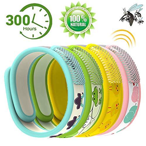 Bestzy braccialetto antizanzare, 4 pezzi bracciale repellente antizanzare regolabile bambini adulti per campeggio al coperto e all'aperto