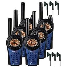 12Km Cobra MT975 Dos Vías PMR 446 Walkie Talkie Licencia Libre Radio Con Comtech CM-15PT PTT Hndsfree Auriculares - Azul, Six