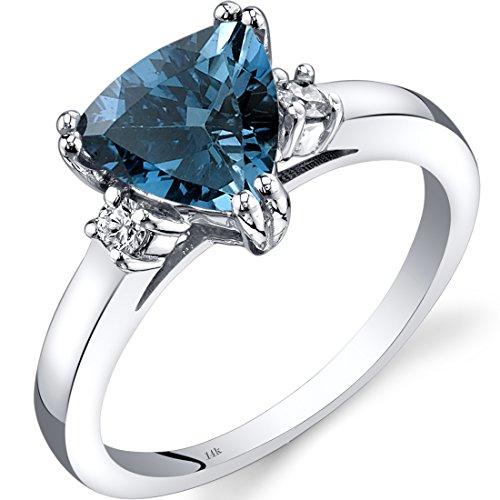 Revoni 14ct White Gold London Blue Topaz Diamond Ring Trillion Cut 2.00 Carat
