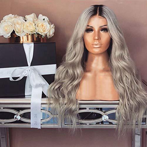 Kostüm Mit Haar Lockigem - Große Welle mit Lange lockigem Haare Damen, MCYs Mode Synthetische Schwarze und Grau Gemischte Farbe Lockiges Haar Perücke Wasser Welle Haar 65cm
