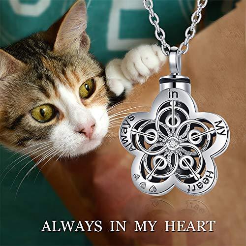 DJLOOKK Collar conmemorativo del Animal doméstico El Collar conmemorativo de Plata del ataúd de la Flor de la joyería del Animal doméstico 925-en Forma de Ciruelo se Puede Abrir