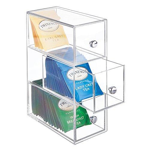 mDesign Küchen Organizer mit 3 Schubladen – ideal als Teebox zum Sortieren der verschiedenen Teebeutel – Aufbewahrungsbox aus Kunststoff für Süßstoff, Zucker, Salz etc. – durchsichtig