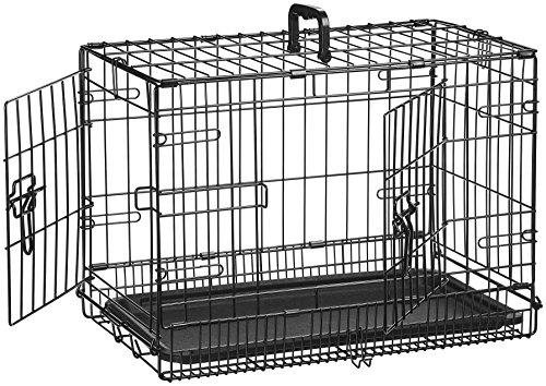 AmazonBasics - Gabbia per cani in metallo, pieghevole, con 2 sportelli, 56 cm