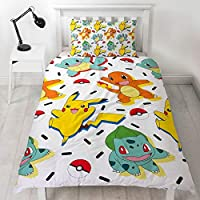 Pokemon Single Duvet Cover | Reversible Two Sided Memphis Fun Bedding Featuring Pikachu, Squirtle & Charmander with Matching Pillow Case, Multi Coloured, 200 x 135cm