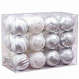 Victor's Workshop 24Pcs Bolas de Navidad 6cm, Adornos de Navidad para Arbol, Decoración de Bolas Navideños Inastillable Plástico de Plata y Blanco, Regalos de Colgantes de...