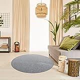 Schlingen Teppich Everest rund - Farbe: Beige Grau Caramel Anthrazit oder Rot | hochwertige und strapazierfähige Qualität | Fußbodenheizung geeignet | für Wohnzimmer Schlafzimmer Kinderzimmer und Büro, Farbe:Grau, Größe:267 cm rund